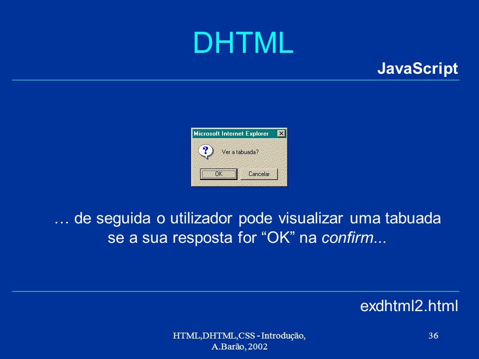 HTML,DHTML,CSS - Introdução, A.Barão, 2002 36 DHTML JavaScript exdhtml2.html … de seguida o utilizador pode visualizar uma tabuada se a sua resposta for OK na confirm...