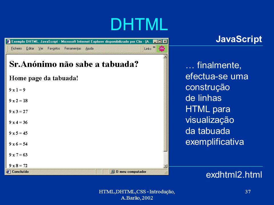 HTML,DHTML,CSS - Introdução, A.Barão, 2002 37 DHTML JavaScript exdhtml2.html … finalmente, efectua-se uma construção de linhas HTML para visualização da tabuada exemplificativa