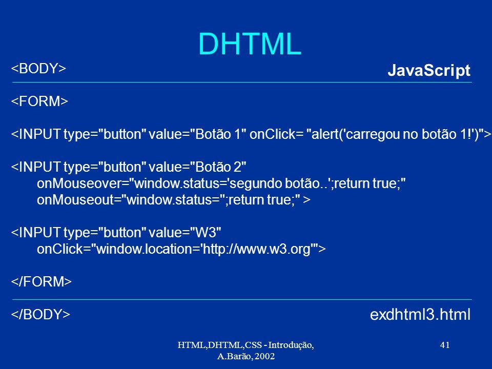HTML,DHTML,CSS - Introdução, A.Barão, 2002 41 DHTML JavaScript exdhtml3.html <INPUT type= button value= Botão 2 onMouseover= window.status= segundo botão.. ;return true; onMouseout= window.status= ;return true; > <INPUT type= button value= W3 onClick= window.location= http://www.w3.org >