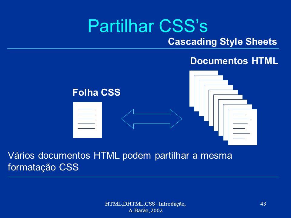 HTML,DHTML,CSS - Introdução, A.Barão, 2002 43 Partilhar CSS's Cascading Style Sheets Folha CSS Documentos HTML Vários documentos HTML podem partilhar a mesma formatação CSS