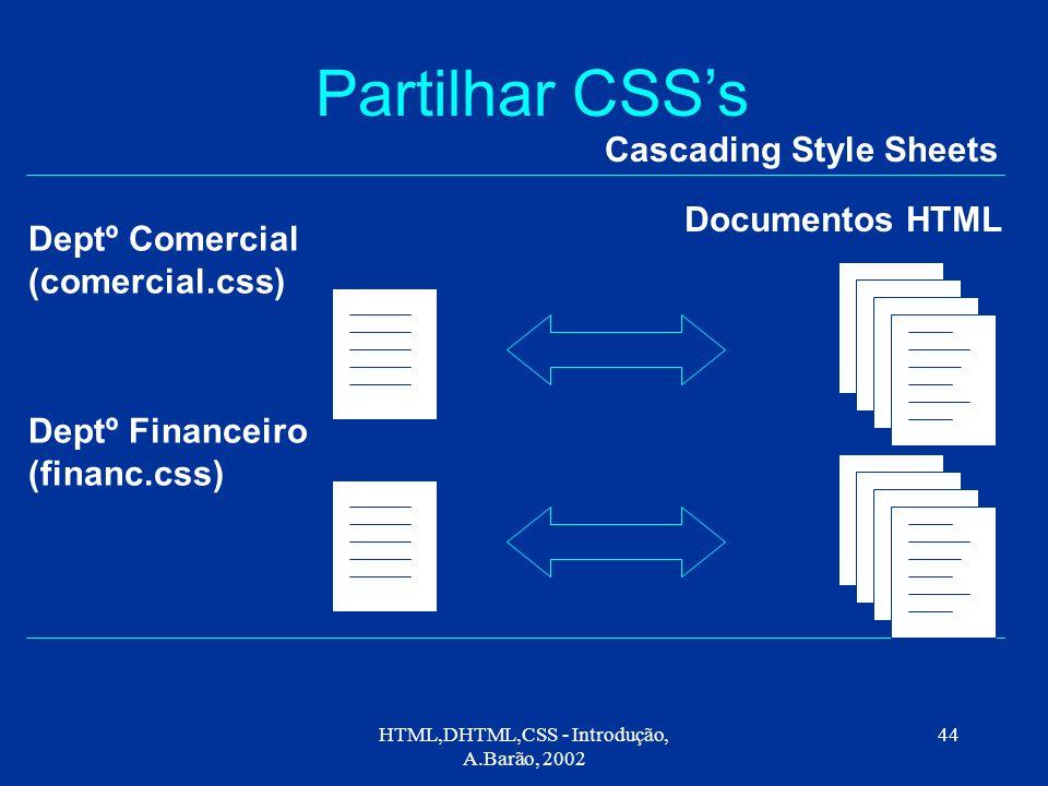 HTML,DHTML,CSS - Introdução, A.Barão, 2002 44 Partilhar CSS's Cascading Style Sheets Deptº Comercial (comercial.css) Documentos HTML Deptº Financeiro (financ.css)