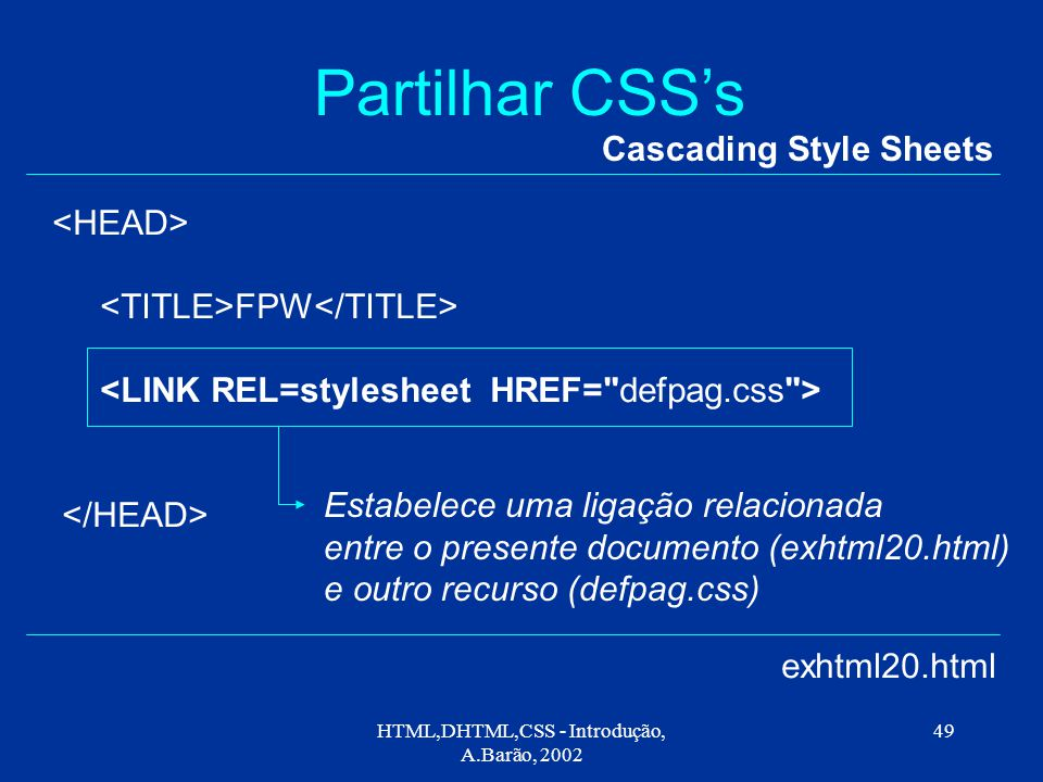 HTML,DHTML,CSS - Introdução, A.Barão, 2002 49 Partilhar CSS's Cascading Style Sheets FPW exhtml20.html Estabelece uma ligação relacionada entre o presente documento (exhtml20.html) e outro recurso (defpag.css)