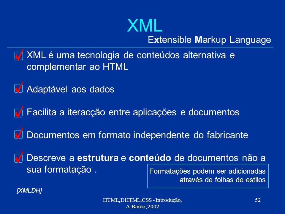 HTML,DHTML,CSS - Introdução, A.Barão, 2002 52 XML Extensible Markup Language XML é uma tecnologia de conteúdos alternativa e complementar ao HTML Adaptável aos dados Facilita a iteracção entre aplicações e documentos Documentos em formato independente do fabricante Descreve a estrutura e conteúdo de documentos não a sua formatação.