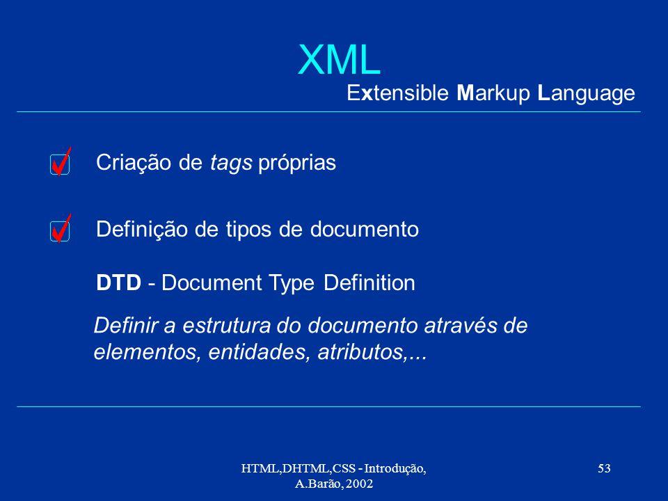 HTML,DHTML,CSS - Introdução, A.Barão, 2002 53 XML Extensible Markup Language Criação de tags próprias Definição de tipos de documento DTD - Document Type Definition Definir a estrutura do documento através de elementos, entidades, atributos,...