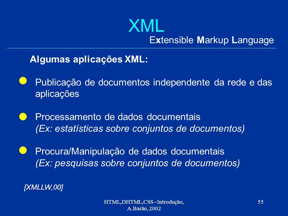 HTML,DHTML,CSS - Introdução, A.Barão, 2002 55 XML Extensible Markup Language Algumas aplicações XML: Publicação de documentos independente da rede e das aplicações Processamento de dados documentais (Ex: estatísticas sobre conjuntos de documentos) Procura/Manipulação de dados documentais (Ex: pesquisas sobre conjuntos de documentos) [XMLLW,00]