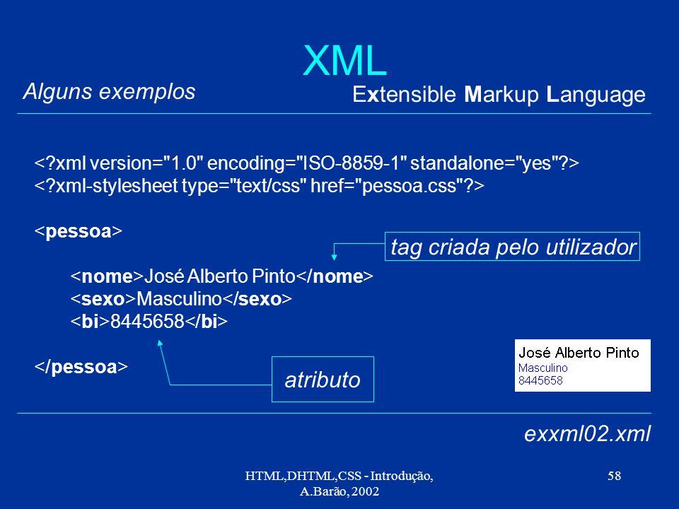HTML,DHTML,CSS - Introdução, A.Barão, 2002 58 XML Extensible Markup Language Alguns exemplos exxml02.xml José Alberto Pinto Masculino 8445658 tag criada pelo utilizador atributo