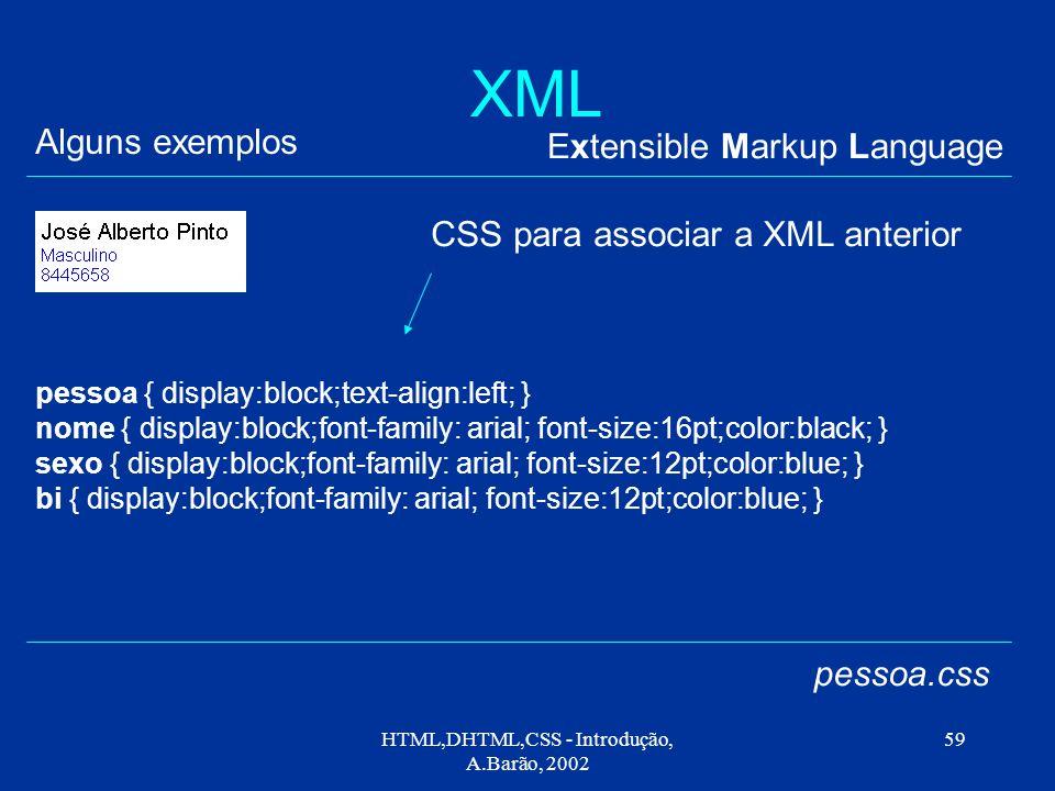 HTML,DHTML,CSS - Introdução, A.Barão, 2002 59 XML Extensible Markup Language Alguns exemplos pessoa.css pessoa { display:block;text-align:left; } nome { display:block;font-family: arial; font-size:16pt;color:black; } sexo { display:block;font-family: arial; font-size:12pt;color:blue; } bi { display:block;font-family: arial; font-size:12pt;color:blue; } CSS para associar a XML anterior