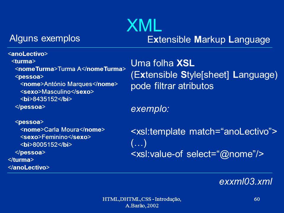 HTML,DHTML,CSS - Introdução, A.Barão, 2002 60 XML Extensible Markup Language Alguns exemplos exxml03.xml Turma A António Marques Masculino 8435152 Carla Moura Feminino 8005152 Uma folha XSL (Extensible Style[sheet] Language) pode filtrar atributos exemplo: (…)