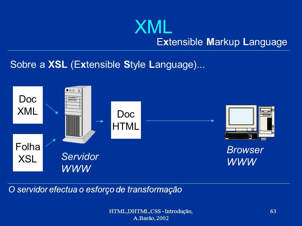HTML,DHTML,CSS - Introdução, A.Barão, 2002 63 XML Extensible Markup Language Sobre a XSL (Extensible Style Language)...