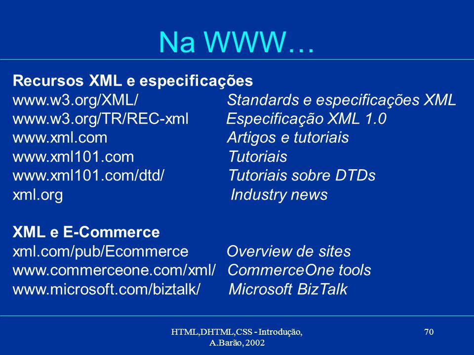 HTML,DHTML,CSS - Introdução, A.Barão, 2002 70 Na WWW… Recursos XML e especificações www.w3.org/XML/ Standards e especificações XML www.w3.org/TR/REC-xml Especificação XML 1.0 www.xml.com Artigos e tutoriais www.xml101.com Tutoriais www.xml101.com/dtd/ Tutoriais sobre DTDs xml.org Industry news XML e E-Commerce xml.com/pub/Ecommerce Overview de sites www.commerceone.com/xml/ CommerceOne tools www.microsoft.com/biztalk/ Microsoft BizTalk