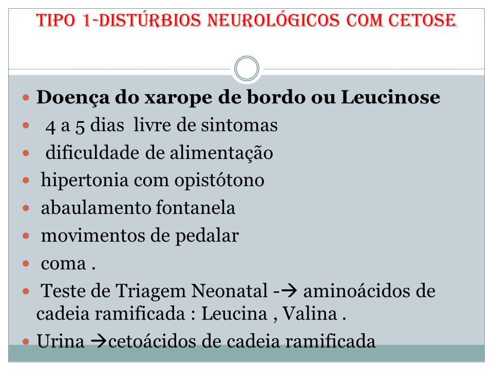 Tipo 1-Distúrbios neurológicos com cetose Doença do xarope de bordo ou Leucinose 4 a 5 dias livre de sintomas dificuldade de alimentação hipertonia co