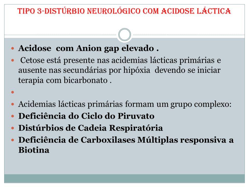Tipo 3-Distúrbio Neurológico com Acidose Láctica Acidose com Anion gap elevado. Cetose está presente nas acidemias lácticas primárias e ausente nas se