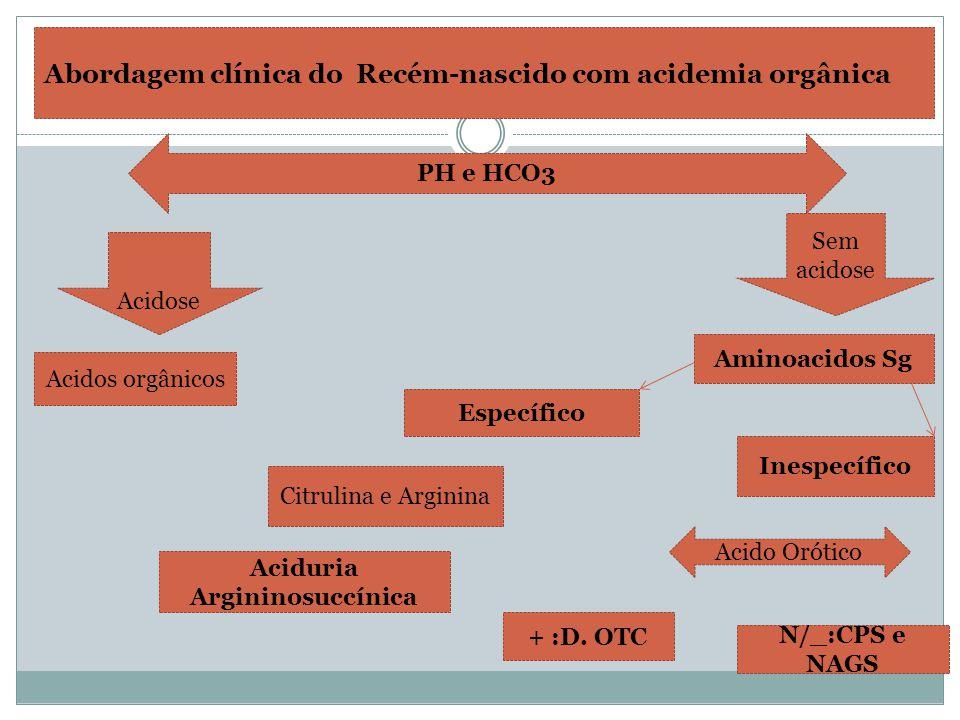 Abordagem clínica do Recém-nascido com acidemia orgânica PH e HCO3 Acidose Sem acidose Específico Aminoacidos Sg Inespecífico Acidos orgânicos Citruli