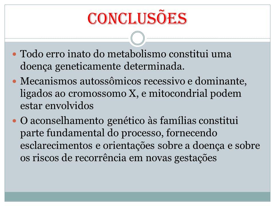 Conclusões Todo erro inato do metabolismo constitui uma doença geneticamente determinada. Mecanismos autossômicos recessivo e dominante, ligados ao cr