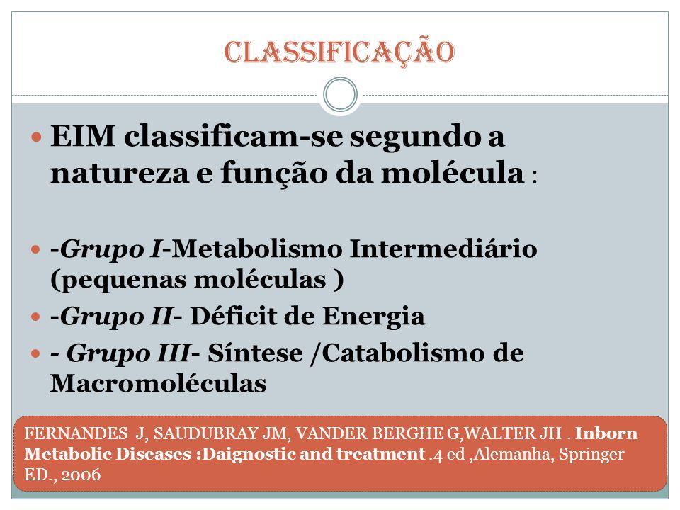 CLASSIFICAÇÃO --  GRUPO I Metabolismo Intermediário : Aminoacidopatias Acidúrias Orgânicas Defeitos do Ciclo da Uréia Galactosemia Doenças de pequenas moléculas cursam com quadro de intoxicação por acúmulo de metabólitos relacionados a dieta
