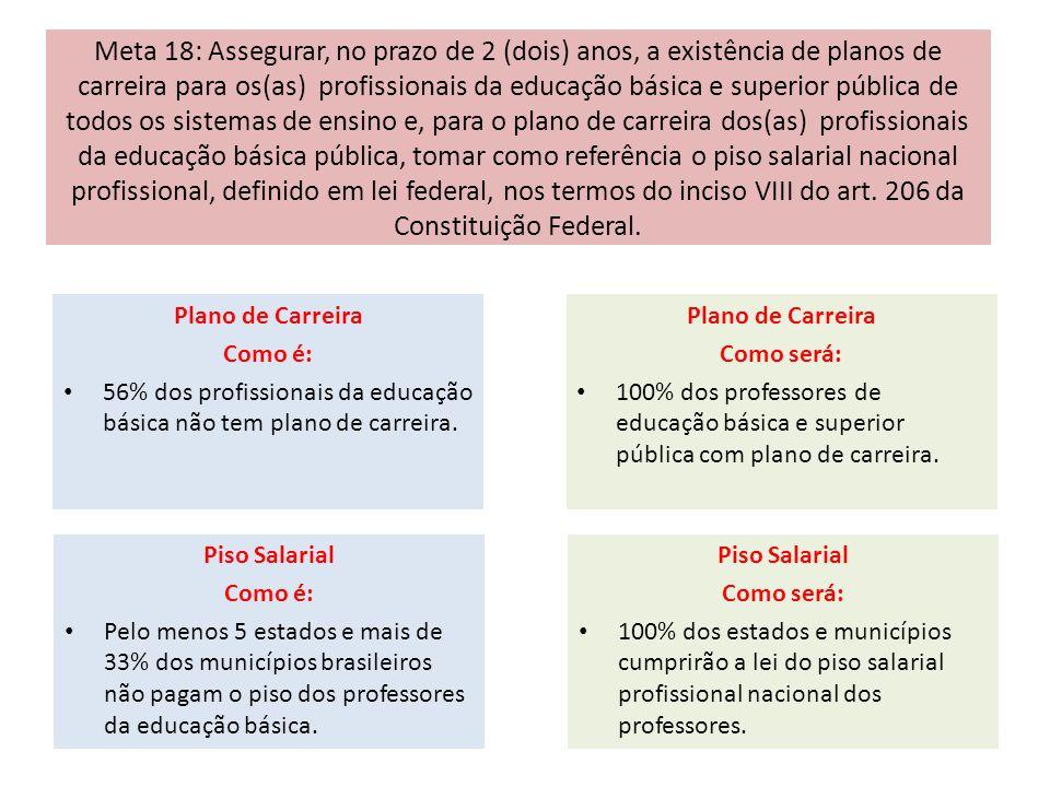 Meta 18: Assegurar, no prazo de 2 (dois) anos, a existência de planos de carreira para os(as) profissionais da educação básica e superior pública de t
