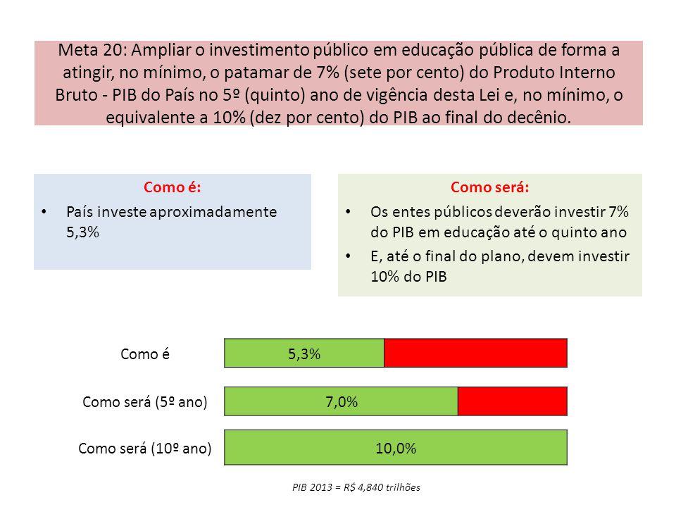 Meta 20: Ampliar o investimento público em educação pública de forma a atingir, no mínimo, o patamar de 7% (sete por cento) do Produto Interno Bruto -