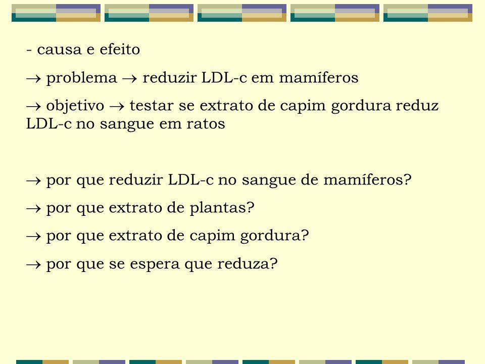 - causa e efeito  problema  reduzir LDL-c em mamíferos  objetivo  testar se extrato de capim gordura reduz LDL-c no sangue em ratos  por que redu