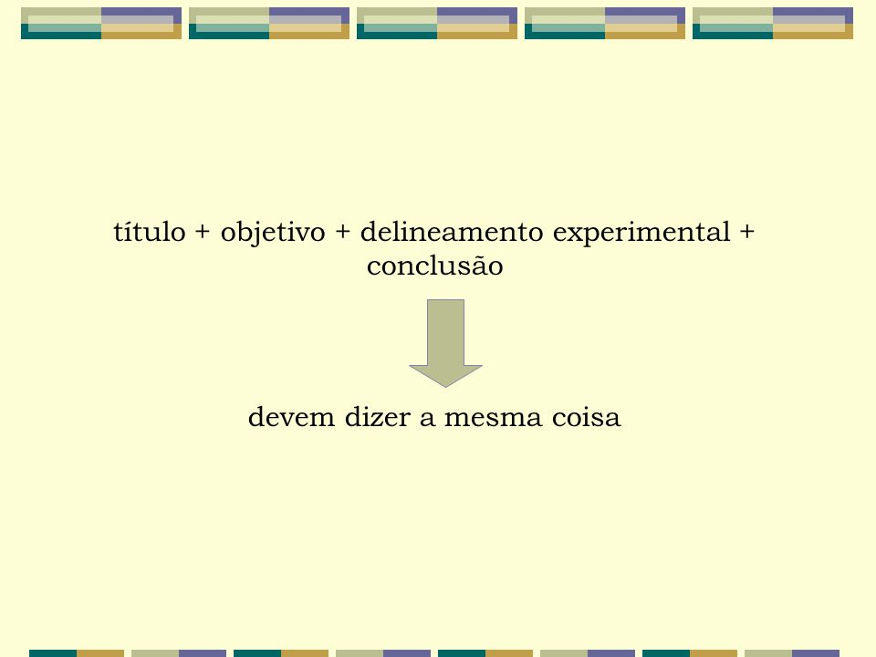 título + objetivo + delineamento experimental + conclusão devem dizer a mesma coisa