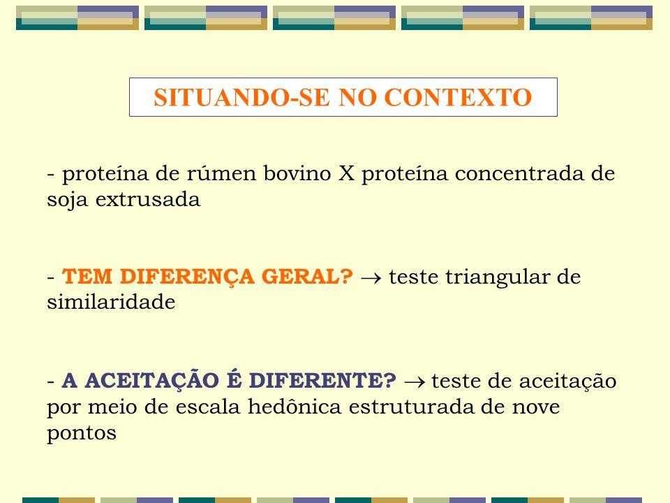 - proteína de rúmen bovino X proteína concentrada de soja extrusada - TEM DIFERENÇA GERAL?  teste triangular de similaridade - A ACEITAÇÃO É DIFERENT