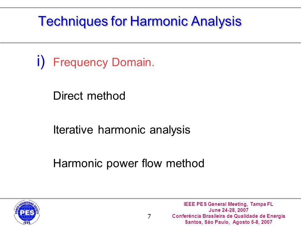 IEEE PES General Meeting, Tampa FL June 24-28, 2007 Conferência Brasileira de Qualidade de Energia Santos, São Paulo, Agosto 5-8, 2007 7 Techniques for Harmonic Analysis i) Frequency Domain.