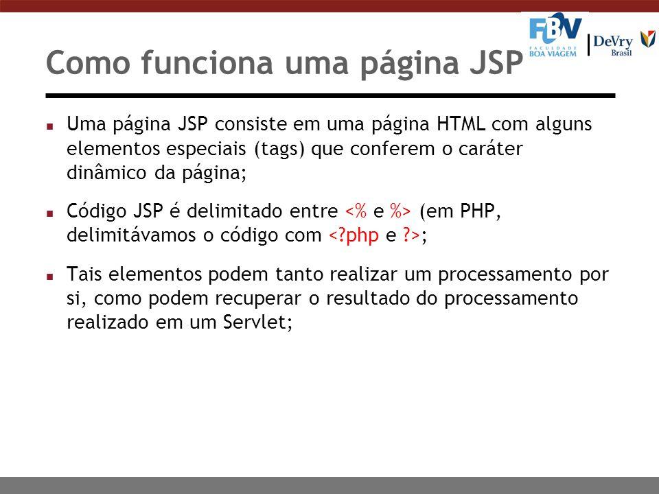 Como funciona uma página JSP n Uma página JSP consiste em uma página HTML com alguns elementos especiais (tags) que conferem o caráter dinâmico da pág
