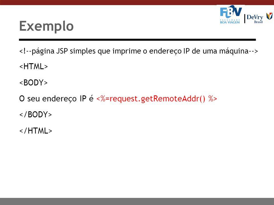 Exemplo O seu endereço IP é