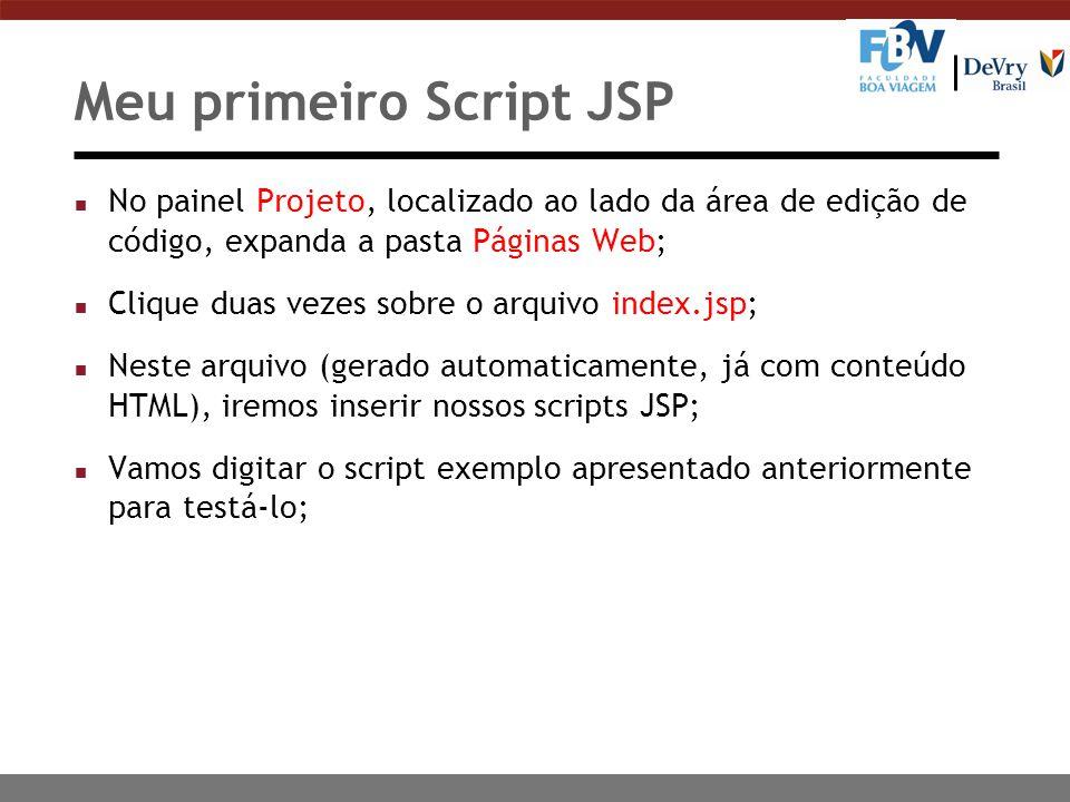 n No painel Projeto, localizado ao lado da área de edição de código, expanda a pasta Páginas Web; n Clique duas vezes sobre o arquivo index.jsp; n Nes
