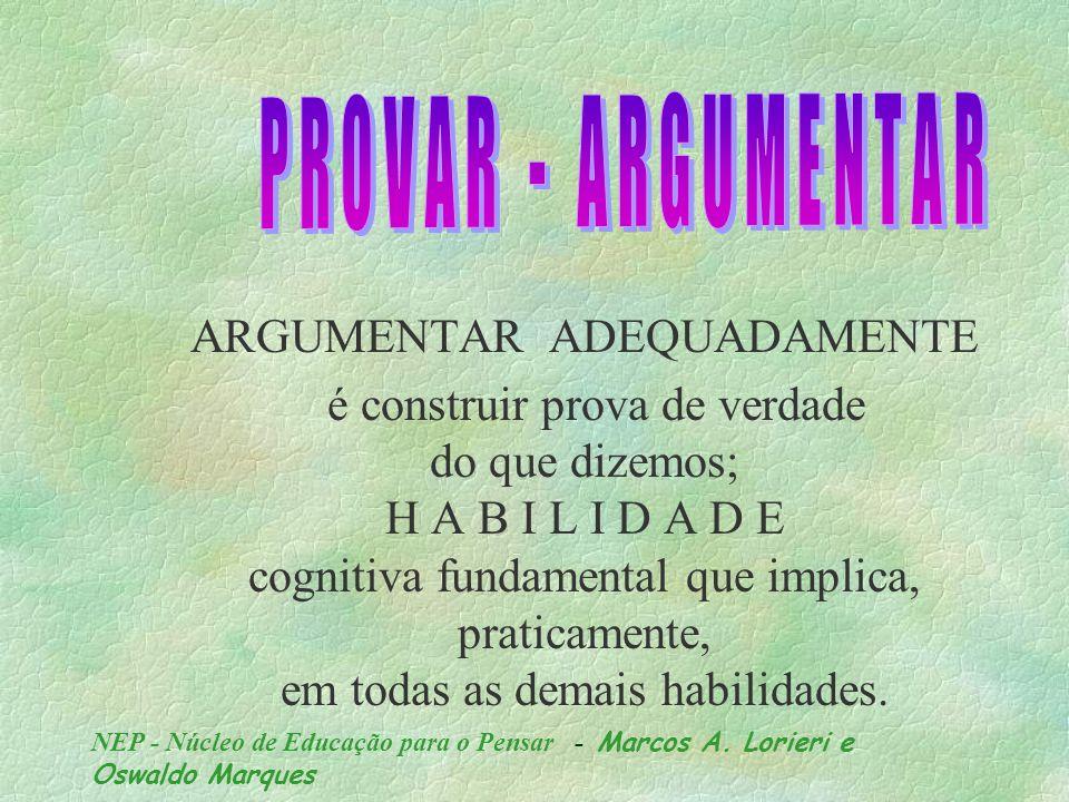 NEP - Núcleo de Educação para o Pensar - Marcos A. Lorieri e Oswaldo Marques Capacidade de nos fazer entender de maneira clara, através de explicações