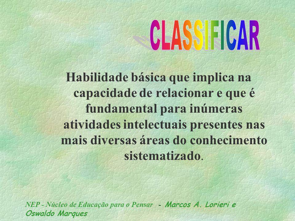 NEP - Núcleo de Educação para o Pensar - Marcos A. Lorieri e Oswaldo Marques o conhecimento humano é um processo de estabelecer relações...... entre i