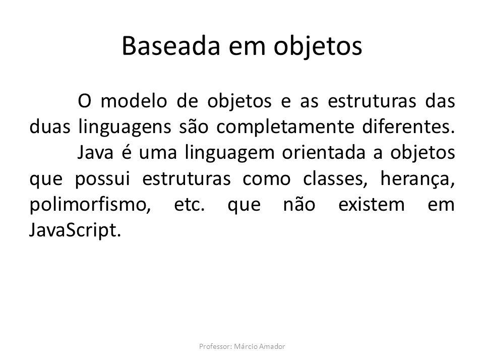 Baseada em objetos O modelo de objetos e as estruturas das duas linguagens são completamente diferentes. Java é uma linguagem orientada a objetos que