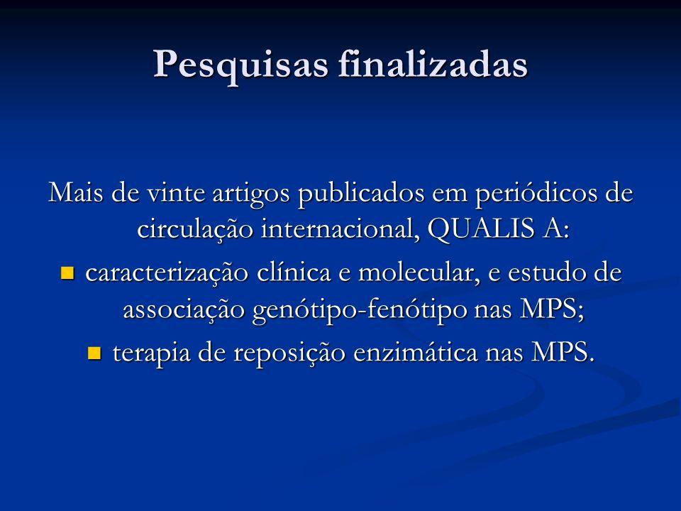 Pesquisas finalizadas Mais de vinte artigos publicados em periódicos de circulação internacional, QUALIS A: caracterização clínica e molecular, e estu