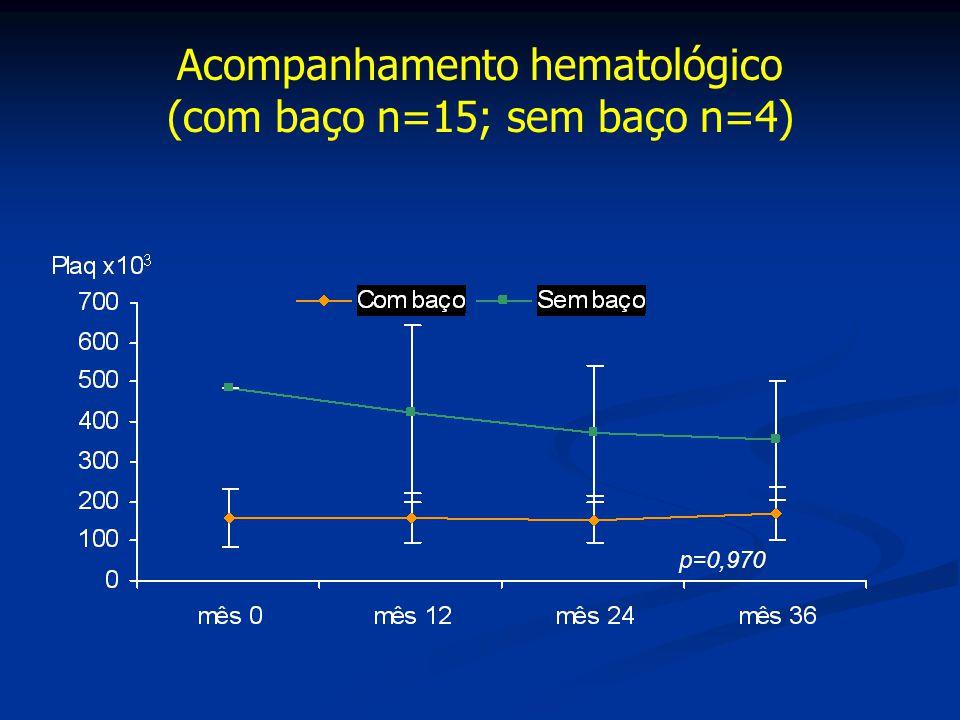Acompanhamento hematológico (com baço n=15; sem baço n=4) p=0,970