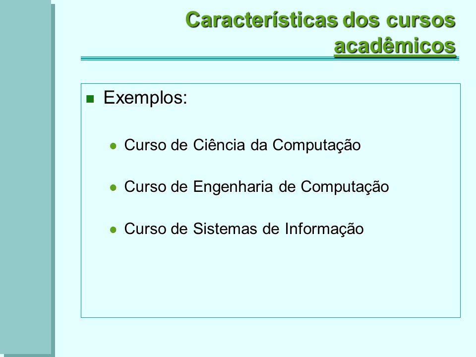 Características dos cursos acadêmicos Exemplos: Exemplos: Curso de Ciência da Computação Curso de Ciência da Computação Curso de Engenharia de Computação Curso de Engenharia de Computação Curso de Sistemas de Informação Curso de Sistemas de Informação
