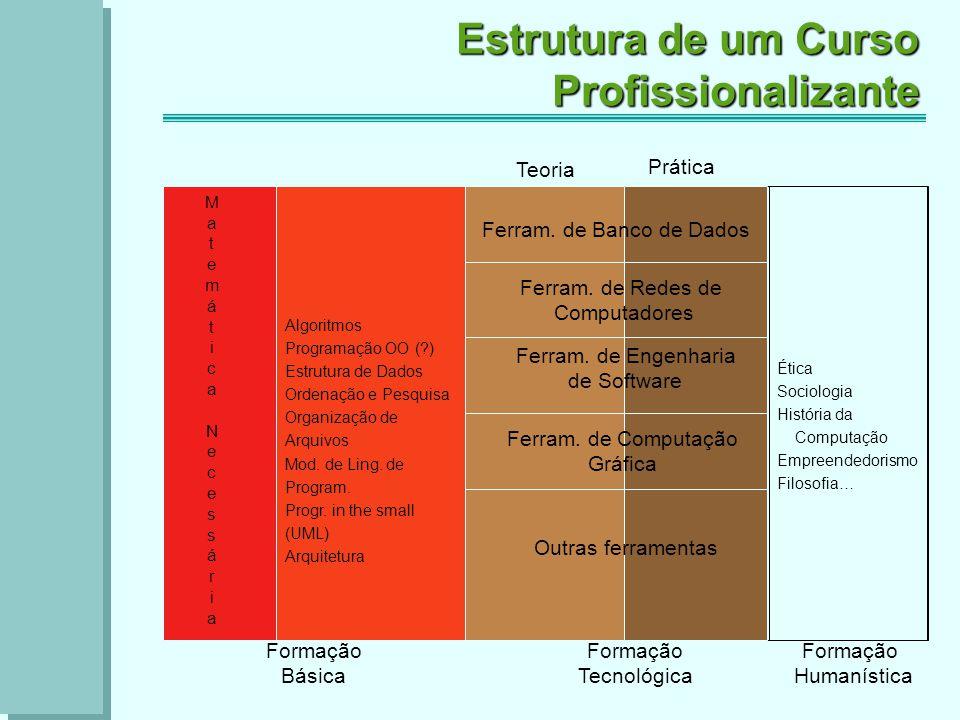 Estrutura de um Curso Profissionalizante Teoria Prática Formação Básica Formação Tecnológica Formação Humanística Ferram.