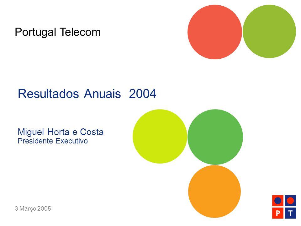 [ 12 ] Resultados Anuais 2004   Portugal Telecom   Março 2005 Negócios em Portugal apresentam forte desempenho + 3.1 % + 6.3 % + 13.7 % + 1.2 pp Receitas Consolidadas EBITDA [milhões de euros] Capex Margem EBITDA [milhões de euros] [%]