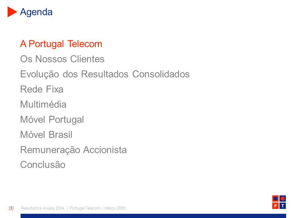 [ 4 ] Resultados Anuais 2004   Portugal Telecom   Março 2005 A Portugal Telecom Outras Multimedia Móvel Receitas por Região Rede Fixa Portugal Brasil Receitas por Negócio > Operador integrado de telecomunicações com oferta de voz, vídeo e dados em Portugal > Elevada exposição a activos móveis > Estratégia internacional focada no negócio móvel no Brasil