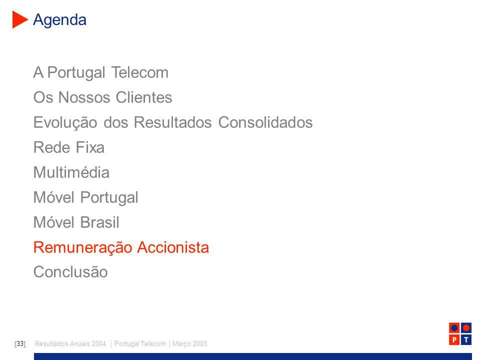[ 33 ] Resultados Anuais 2004 | Portugal Telecom | Março 2005 A Portugal Telecom Os Nossos Clientes Evolução dos Resultados Consolidados Rede Fixa Multimédia Móvel Portugal Móvel Brasil Remuneração Accionista Conclusão Agenda