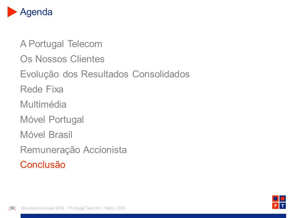 [ 36 ] Resultados Anuais 2004 | Portugal Telecom | Março 2005 A Portugal Telecom Os Nossos Clientes Evolução dos Resultados Consolidados Rede Fixa Multimédia Móvel Portugal Móvel Brasil Remuneração Accionista Conclusão Agenda