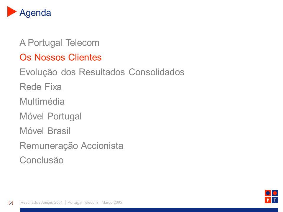 [ 5 ] Resultados Anuais 2004 | Portugal Telecom | Março 2005 A Portugal Telecom Os Nossos Clientes Evolução dos Resultados Consolidados Rede Fixa Multimédia Móvel Portugal Móvel Brasil Remuneração Accionista Conclusão Agenda