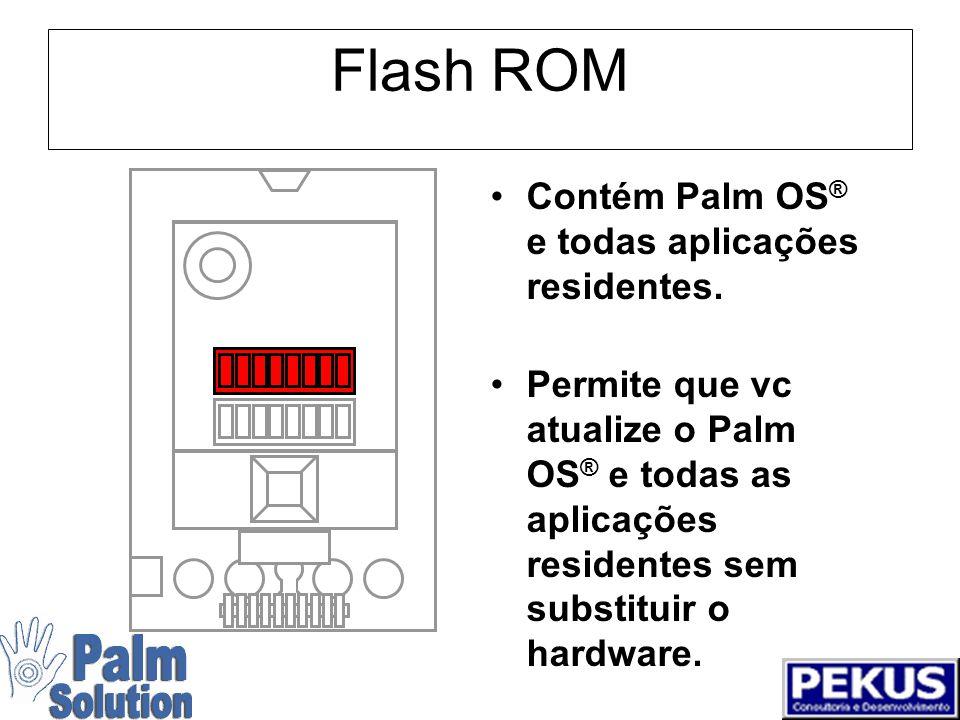 Tela LCD 160 x 160 pixels/16 bits Alto-contraste Muito fácil para ler Tamanho pequeno e baixo consumo é parte da filosofia de design da Palm™