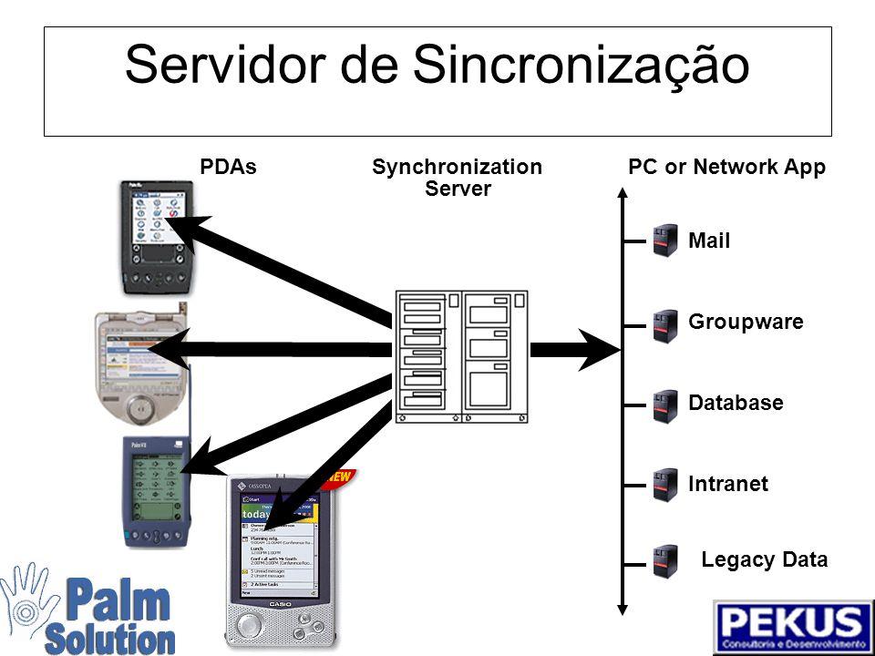 Dois tipos de sincronização PDAPC or Network AppSynchronization Standard Mail Groupware Intranet Legacy Data Database Server
