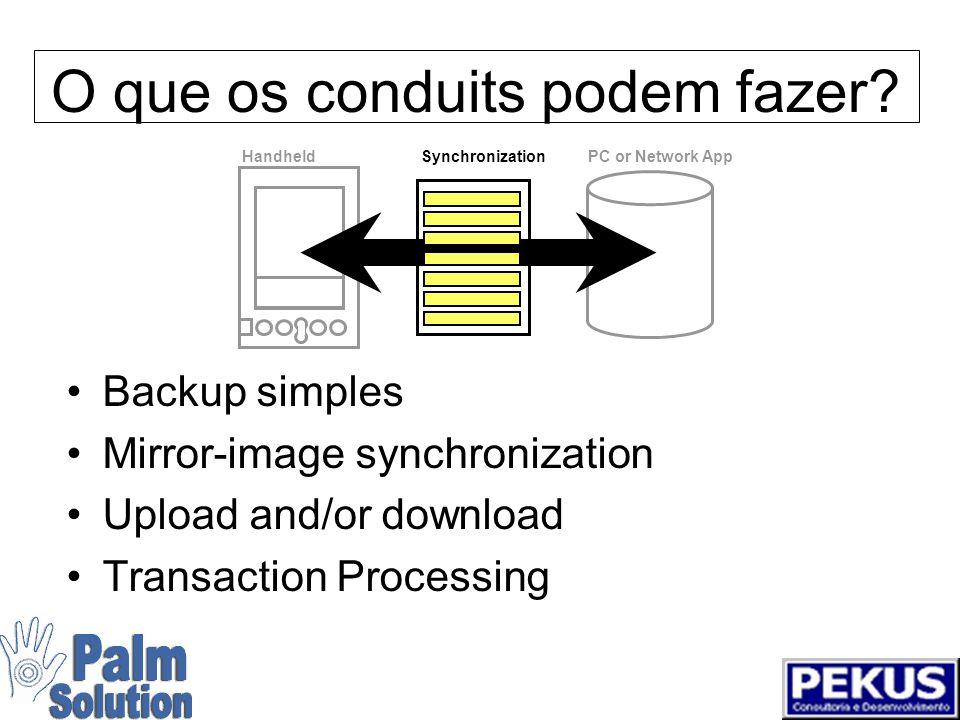 Servidor de Sincronização PDAs Synchronization Server PC or Network App Mail Groupware Intranet Database Legacy Data