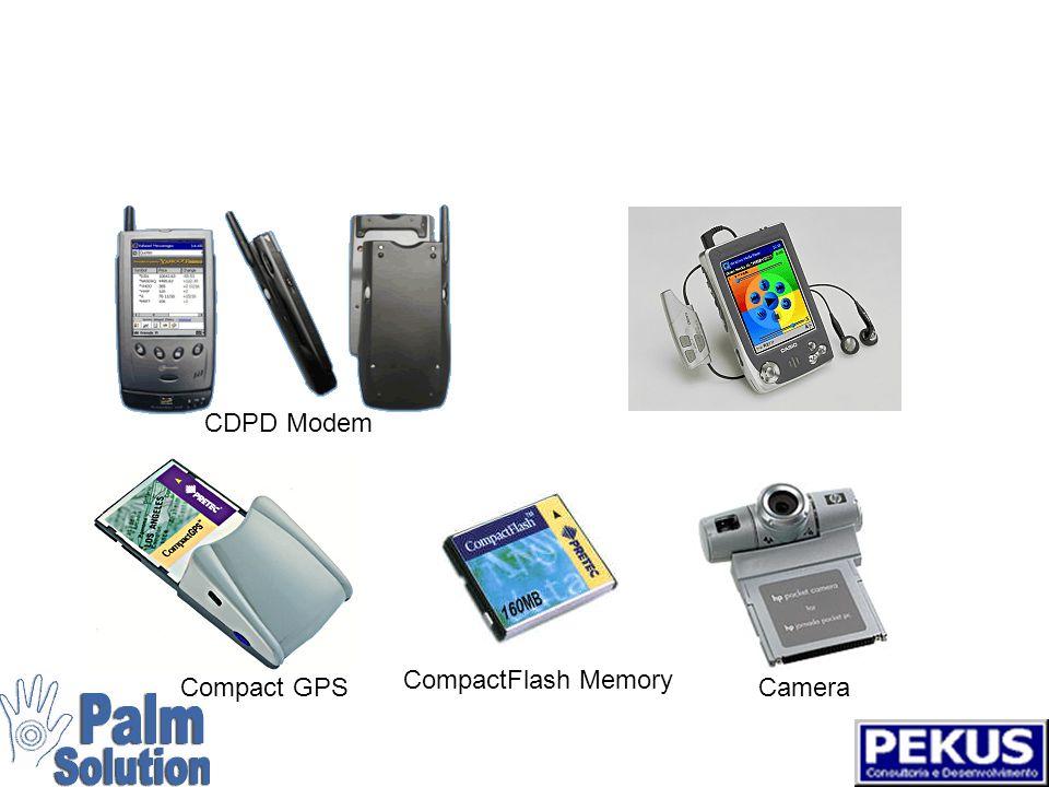 Uma variedade de add-ons para porta serial Folding keyboard Global positioning systems Portable printers Digital cameras