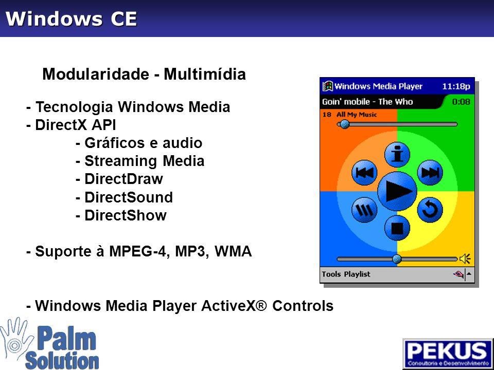 Modularidade - Internet - - Internet Explorer 4 Class Browser Control - Suporte URL e gerenciamento de Cookies - Navegação Offline - Suporte para HTML 4.0, DHTML, Jscript - Imagens GIF, JPEG e BMP - SSL 2.0/SSL 3.0 - Suporte para aplicações via WinInet - HTTP / FTP Windows CE