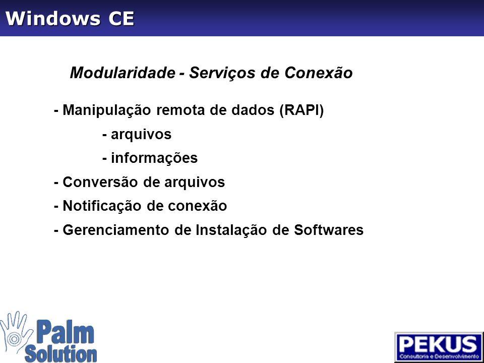 Modularidade - Device Drivers - Drivers padrão - mouse - teclado - touch screen - Comunicação Serial e Paralela - Adaptador PCMCIA e USB - Display e Áudio - Impressão - IrDA - Unimodem Windows CE