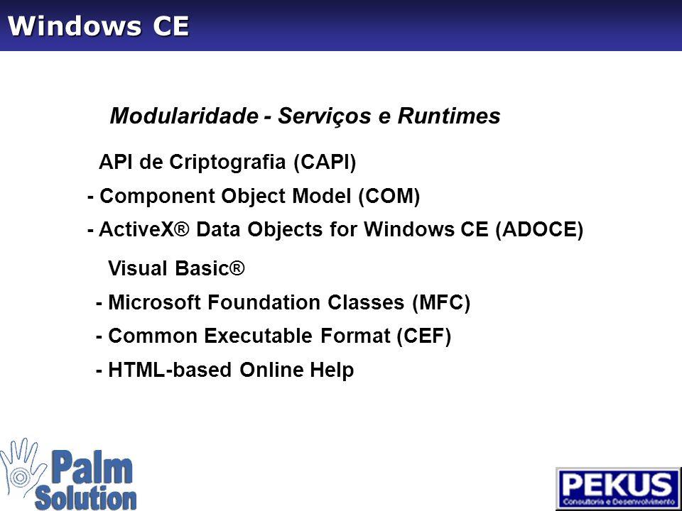 Modularidade - Serviços de Conexão - Manipulação remota de dados (RAPI) - arquivos - informações - Conversão de arquivos - Notificação de conexão - Gerenciamento de Instalação de Softwares Windows CE