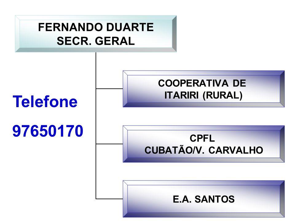 FERNANDO DUARTE SECR. GERAL COOPERATIVA DE ITARIRI (RURAL) CPFL CUBATÃO/V. CARVALHO E.A. SANTOS Telefone 97650170