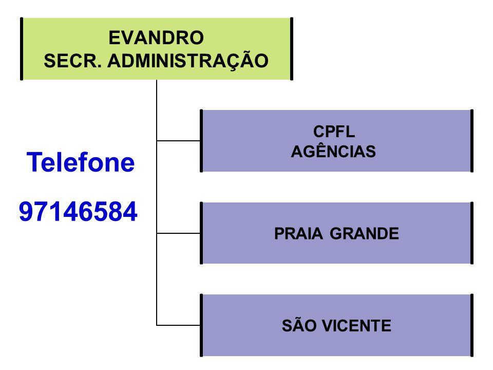 EVANDRO SECR. ADMINISTRAÇÃO CPFL AGÊNCIAS PRAIA GRANDE SÃO VICENTE Telefone 97146584