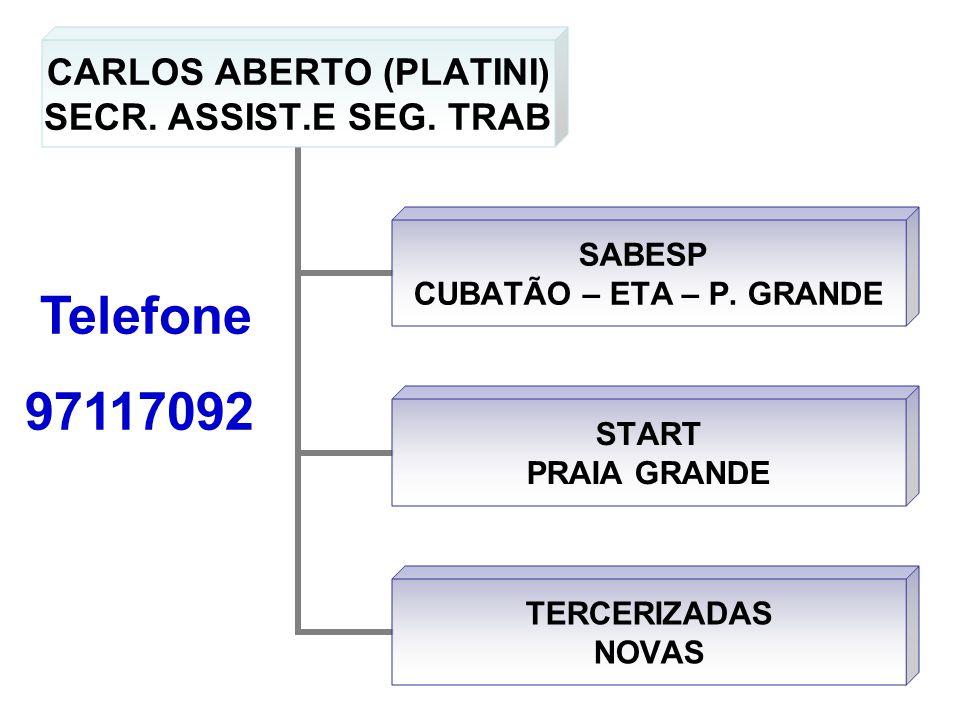 CARLOS ABERTO (PLATINI) SECR. ASSIST.E SEG. TRAB SABESP CUBATÃO – ETA – P. GRANDE START PRAIA GRANDE TERCERIZADAS NOVAS Telefone 97117092